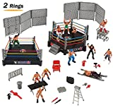 Liberty Imports 32-Piece Mini Wrestling Playset with Action Figures & Accessories   Kids Toy with Realistic Wrestlers   2 Rings Included