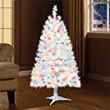 Holiday Time 4ft Pre-Lit Indiana Spruce Artificial Christmas Tree with 105 Multicolored Lights - White
