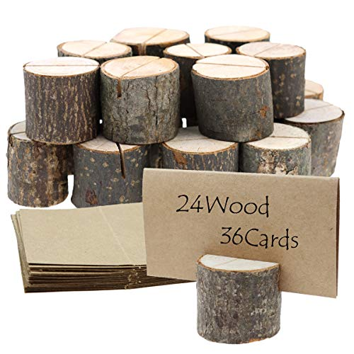 MotBach 24 Pcs Rustic Wood Place Card Holders Wooden Round Table Number Stand Memo Holder Clip Holders Bulk 36 Pcs Kraft Place Card for Card, Photo, Picture, Note Wedding Party Decoration Table Number