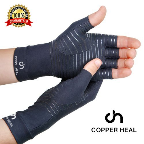 COPPER HEAL Arthritis Compression Gloves – Best Medical Copper Glove Guaranteed to Work for Rheumatoid Arthritis, Carpal Tunnel, RSI Osteoarthritis & Tendonitis Open in Fingers Fingerless Fit Size M deal 50% off 51xU8luQeFL