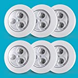 6-Pack Push on Lights| Tap Lights Battery Operated| Led Lights for Closet| Stick up Lights| Touch Lights for Entrance, Hallway, Basement, Bathroom, Cabinet, Closet(Batteries Not Included)