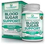 Premium Blood Sugar Support Supplement by PurePremium - Cinnamon, Mulberry, Vitamin C - Glucose Metabolism & Healthy Blood Sugar Levels - Regulate Cholesterol & Promote Cardiovascular Health - 60 Caps