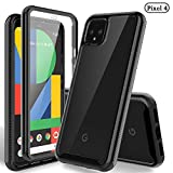 HATOSHI Google Pixel 4 Case (Not Fit 4 XL) with Built-in Screen Protector, [Heavy Duty Protection][Crystal Clear] Armor Shockproof Rubber Bumper Phone Cover for Pixel 4 (5.7'')-Black