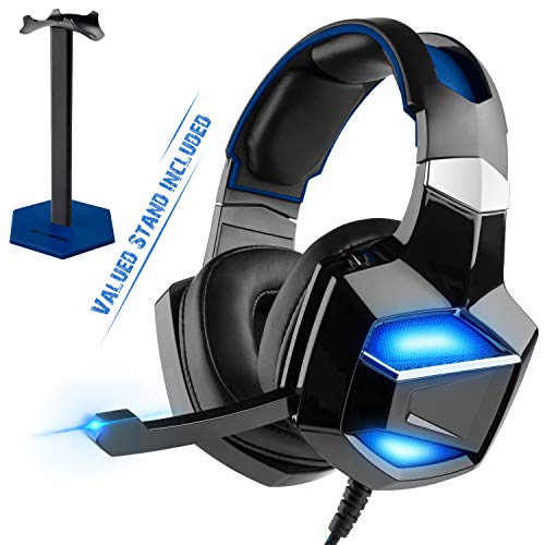 7.1 Surround Sound - PS4 Mate USB Digital Chip Decoding Gaming Headset with Stand, G-Cord Over-Ear Headphones with Noise Cancelling Microphone for PS4 PC Laptop, Soft Memory Comfortable Earmuffs.