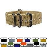 PerFit ZULU4 Ballistic Nylon Watch Strap + Spring Bars, Field Ready/Fashion Forward, Choose Color/Size(18mm,20mm,22mm,24mm,26mm), Black Ops/Dress Khaki, 22mm