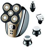 Electric Razor Shaver for Men Bald Head Grooming Kit 5 in 1 Wet Dry Rotary Shavers Nose Hair Beard Trimmer Clippers Facial Cleansing Brush Cordless Waterproof USB Fast Charging Rechargeable
