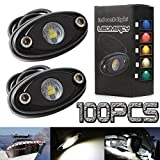 LEDMIRCY LED Rock Lights White Kit for JEEP Off Road Truck Auto Car Boat ATV SUV Waterproof High Power Underbody Glow Neon Trail Rig Lights Underglow Lights Shockproof(Pack of 100 White)