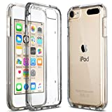 ULAK Soft TPU Bumper PC Back Hybrid Case for iPod Touch 6/iPod Touch 5 - Retail Packaging - Clear Slim