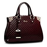 Women's Patent Leather Handbags Designer Totes Purse Satchels Shoulder Handbag Fashion Embossed Top Handle Bags (Wine Red)