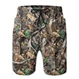 Realtree Camo Wallpapers Men's Shorts Casual Classic Fit Drawstring Summer Beach Shorts with Elastic Waist and Pockets