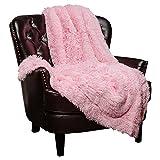 Chanasya Super Soft Shaggy Longfur Throw Blanket | Snuggly Fuzzy Faux Fur Lightweight Warm Elegant Cozy Plush Sherpa Fleece Microfiber Blanket | for Couch Bed Chair Photo Props - 50'x 65' - Pink