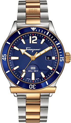 Stainless steel case with rose gold IP Gancino-shaped top ring; Luminous hands and hour markers; Two tone stainless steel and IP rose gold bracelet Ronda 715 Swiss Quartz movement; Blue aluminum rotating bezel Swiss-quartz Movement