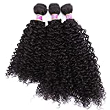 ANGIE Kinky Curly Hair Bundles 16 18 20 Inches 3 Pieces/Pack Curly Synthetic Hair Weave Extensions (Updated Color 2#)