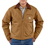 Carhartt Men's Big & Tall Weathered Duck Detroit Jacket Blanket Lined J001,Brown,Large Tall
