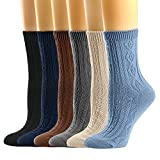 Womens Crew Socks Pure Color Casual Cotton Knitting Comfy Retro Socks 6Pack