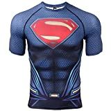 COOLMAX Raglan Short Sleeve Superman Mens Compression Shirt (X-Large, Dark Blue)
