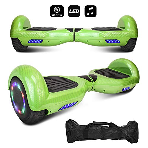 CHO 6.5' inch Wheels Electric Smart Self Balancing Scooter Hoverboard with Bluetooth Speaker LED Light - UL2272 Certified (Gold)