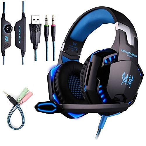 KOTION EACH G2000 PC Game Headset for Xbox Gaming Headset with Mic Earphone Headband,Volume Control Stereo Bass,Glowing RGB LED Light for PS4,PC,X1,Wired Gaming Headset for Women Men Kids-Black Blue