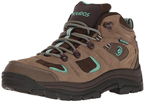 Nevados Women's Klondike Mid Hiking Boot, Shitake Brown, Dark Chestnut, Vivid Aqua, 7 M US