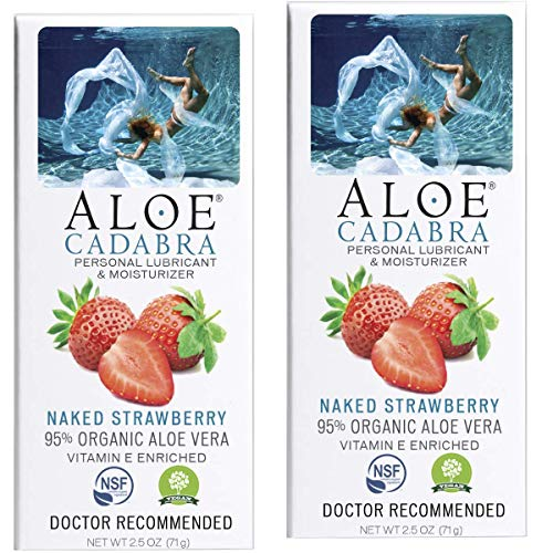 Aloe Cadabra Personal Lubricant, Naked Strawberry Flavored Natural Lube for Sex, Oral, Women, Men & Couples, 2.5 Ounce (Pack of 2)