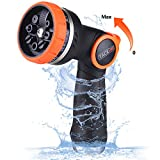 TACKLIFE Garden Hose Nozzle, 8 Patterns High Pressure Spray Nozzle, Thumb Control, Suitable for Watering Garden, Washing Cars & Showering Pets - GHN2A