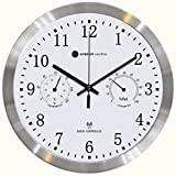 Ambient Weather RC-1200MTTHA 12' Radio Controlled Wall Clock with Temperature & Humidity, Aluminum