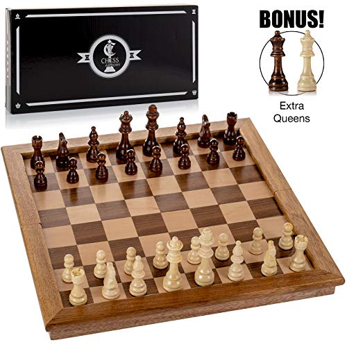 Chess Armory Large 17' Wooden Chess Set with Felted Game Board Interior for Storage