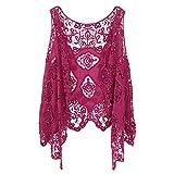 jastie Open Stitch Cardigan Boho Hippie Crochet Vest (Rose), Medium