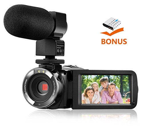 Camera Camcorders,Onshowy Remote Control Infrared Night Vision Handycam HD 1080P 24MP 16X Digital Zoom Video Camera with Microphone and 3.0″ LCD 270 Degree Touchscreen and 2 Batteries (Black)