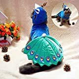 Kailian ® Pet Puppry Dog Cat Cosplay Peacock Costume Adjustable Hat & Cape