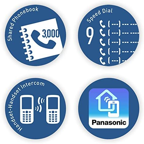 Panasonic Link2Cell Bluetooth Cordless Phone System with Voice Assistant, Call Blocking and Answering Machine. DECT 6.0 Expandable Cordless System - 5 Handsets - KX-TGF575S (Black with Silver Trim) 23