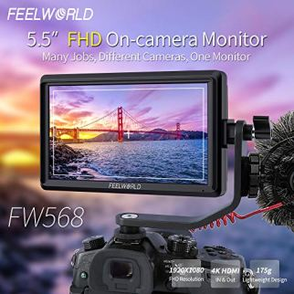FEELWORLD-FW568-55-inch-DSLR-Camera-Field-Monitor-Video-Peaking-Focus-Assist-Small-Full-HD-1920x1080-IPS-with-4K-HDMI-84V-DC-Input-Output-Include-Tilt-Arm