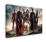 "JUSTICE LEAGUE 2017 MOVIE SUPERMAN BATMAN WONDER WOMAN FLASH AQUAMAN CYBORG CANVAS WALL ART (30"" X 18"" / 75 X 45cm)"