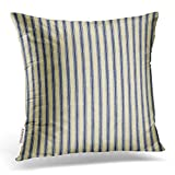 Emvency Throw Pillow Cover Cotton Linen Retro Ticking Blue & White Striped Vintage French Decorative Pillow Case Home Decor Square 20 x 20 Inch Cushion