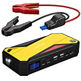 DBPOWER 600A Peak 18000mAh Portable Car Jump Starter (up to 6.5L Gas/ 5.2L Diesel Engine) Portable Battery Booster with Smart Charging Port, Compass, LCD Screen & LED Flashlight (Yellow)