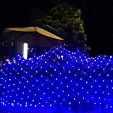Joomer 12ft x 5ft 360 LED Christmas Net Lights,8 Modes Low Voltage Mesh Fairy String Lights for Christmas Trees, Bushes, Wedding, Garden, Outdoor Decorations (Transparent Wire)(Blue)