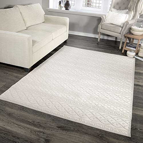 Orian Rugs Jersey Home Indoor/Outdoor Organic Cable Knit Sweater Area Rug, 5'1' x 7'6', Ivory