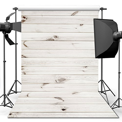 econious Wood Backdrop, 7x5 ft White Wood Floor Backdrop for Studio Props Photo Backdrop