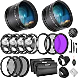Neewer 52mm Lens and Filter Bundle: Wide Angle Lens, Telephoto Lens and Filter Set(Macro, ND, UV, CPL, FLD) for Nikon D3300 D3200 D3100 D5000 D5100 D5200 D5300 D5500 D7000 D7100 D7200 with 52mm Lenses