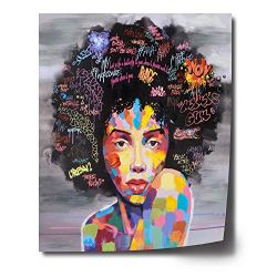FREE CLOUD Crescent Art Abstract Pop Black Art African American Wall Art Afro Woman Painting on Canvas Print Wall Picture for Living Room Bedroom Wall Decor (B Unframed, 16 x 20 inch)