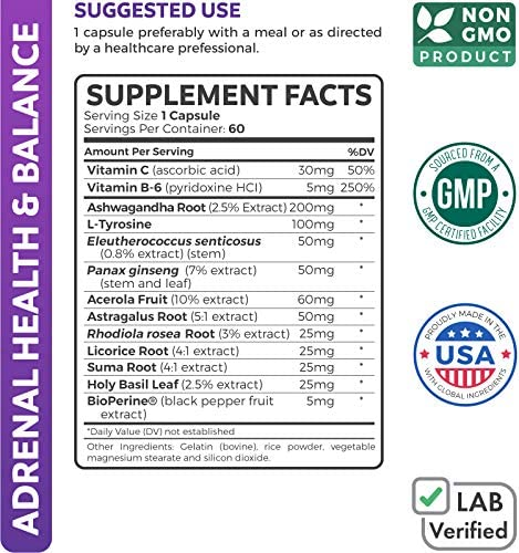 Adrenal Support & Cortisol Manager (Non-GMO) Powerful Adrenal Health with L-Tyrosine & Ashwagandha - Maintain Balanced Cortisol Levels & Stress Relief - Fatigue Supplement - 60 Capsules 5