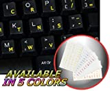 DVORAK SIMPLIFIED KEYBOARD STICKERS WITH YELLOW LETTERING TRANSPARENT BACKGROUND