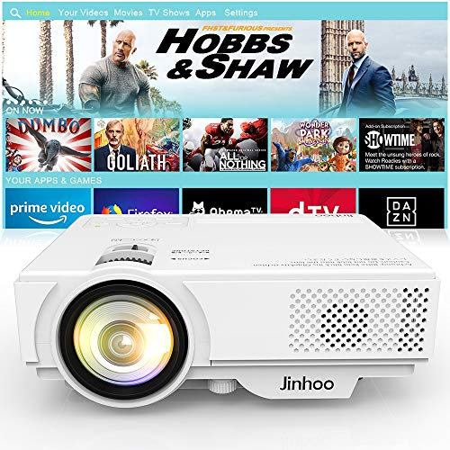 """2019 Newest, Jinhoo Mini Projector 2600 Brightness Full HD 1080P Supported, Home Theater Video Projector with 176"""" Projector Size 55000 Hours, Compatible with TV Stick,HDMI,AV, USB,Laptop,Smartphone"""