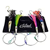 High Speed Wahoo Trolling Lure Set with Bag + Cable Rigged Tuna and Dorado Lures