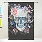 MAHU Sheer Curtains Flower Skull Halloween Leaves Window Voile Curtain Drapes for Living Room Bedroom Kitchen Home Decor 55x78 inches, 1 Panel