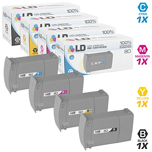 LD Remanufactured Ink Cartridge Replacements for HP 80 (Black, Cyan, Magenta, Yellow, 4-Pack)