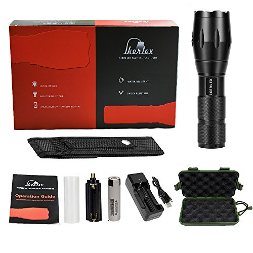 IKERLEX LED Linternas Tácticas Militares Recargables LED Antorcha Alta Potencia 1000 Lumen con 5 Modos Ajustable Portátil 3