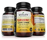 Premium Turmeric Curcumin with Bioperine or Black Pepper, 1300 mg Per Serving,120 Capsules, Non-GMO, Anti-Inflammatory, Antioxidant, 95 % Standardized, Ground Root Powder for Maximum Potency