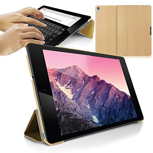 Orzly Nexus 9 Case, SlimRim Tablet Case for NEXUS 9 with AUTO WAKE SLEEP SENSORS - ULTRA SLIM Rim Style Tablet Case in GOLD with Built-In Stand and Magnetic Lid for Secure Fastening