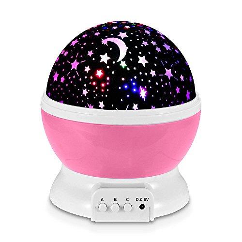 Redlemon Lámpara Proyector de Estrellas Giratorias para Habitación de Niños y Bebés con Luz LED...